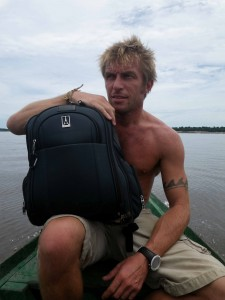 Travel writer Mark Chiapas shows off his Crew 8 Backpack