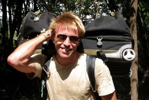 Travel writer Mark Eveleigh sporting his TPro Rolling Duffel