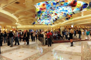 The lobby of the Bellagio Hotel. Staying at a place like expects that you tip at hotels.