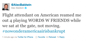 Alec Baldwin Tweet about American Airlines and Words With Friends