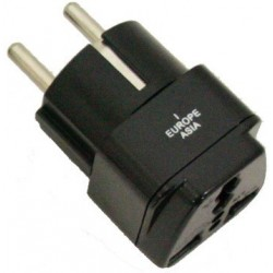 Single travel adapter for Europe and Asia
