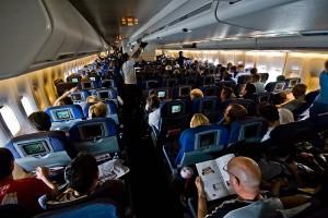 A British Airways 747 - coach cabin