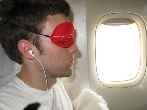 Apple In-ear headphones + Virgin eyemask = a good sleep.