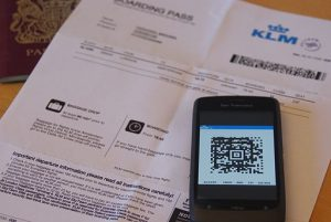 Mobile boarding pass for KLM. One of a few versions of an airline ticket
