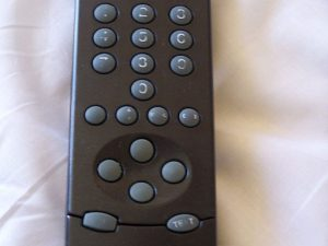 Hotel Room Remote. Be sure to wipe it down before you use it.