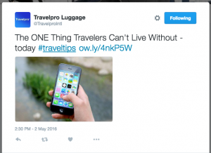 Travelpro Tweet