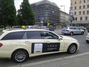 An Uber taxi, suitable for business travelers