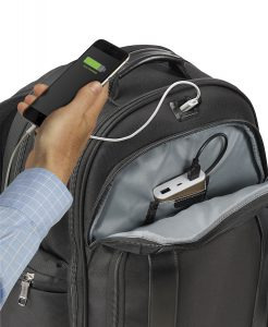 Smart luggage: Crew Executive Choice 2 Backpack has a built-in phone charger. You supply the power pack though.