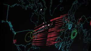 Cyber attacks happening in real time on Norse Attacks map.
