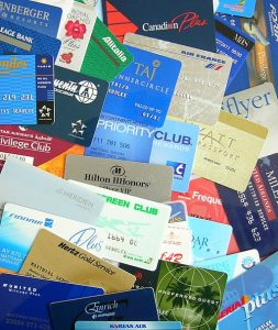Different loyalty cards for hotel stays, car rentals, and frequent flyer miles