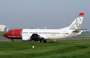 Norwegian Air is hoping their 737s will give them access to new airports. (That's Henrik Ibsen on the tail.)