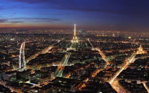 Skyline of Paris, France at night. Imagine a business travel trip like this!