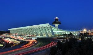 Washington Dulles Airport at dusk, photo by Joe Ravi