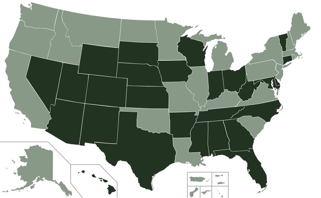 This is a compliance map of all states as of November 7, 2017. Some states still require an alternate ID.