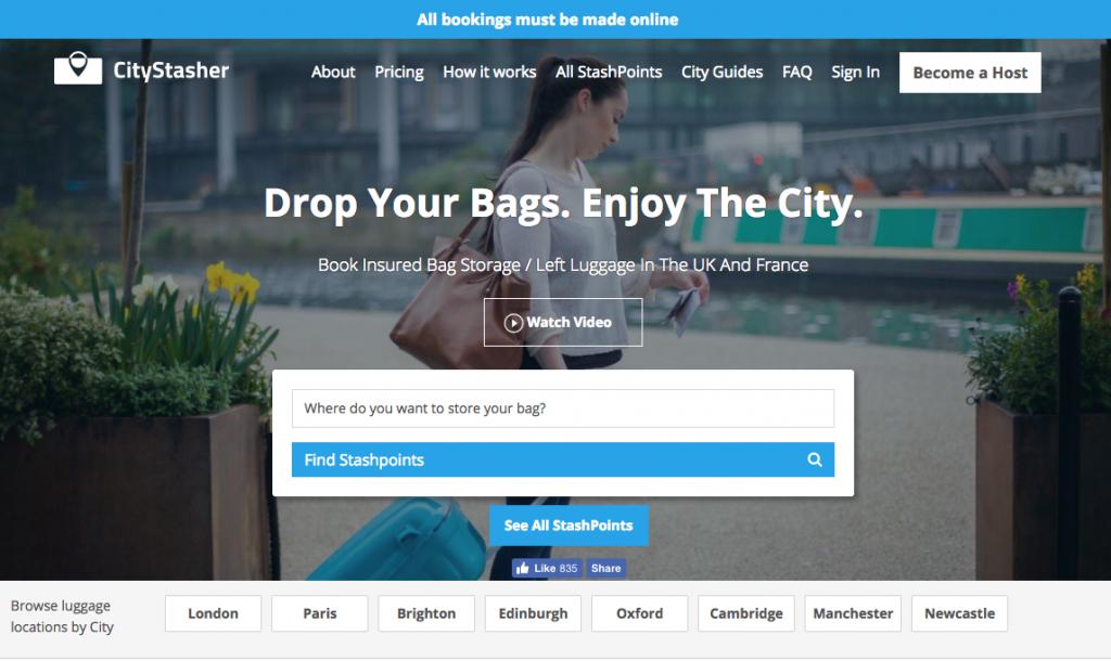 CityStasher home page screenshot