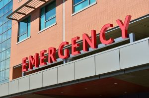 Hospital Emergency sign in big red letters