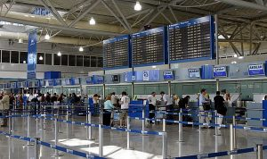 Check-in desk at Athens International Airport. Start here if you ever lose your ID.