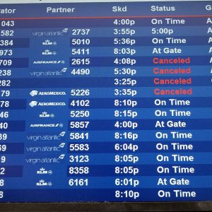 Check the departure board when your flight gets canceled