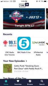 TuneIn Radio - One of the five best entertainment apps