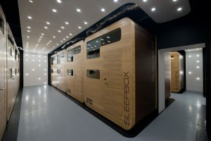 A double Sleepbox Hotel micro-hotel.