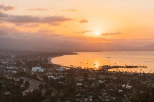 Aerial photo of Santa Barbara, California at sunset