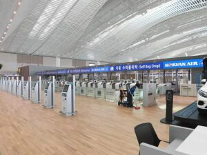 Self bag drop at Incheon Airport, Seoul, South Korea.