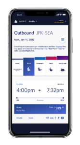 Delta Airlines' new boarding grid on a mobile phone.