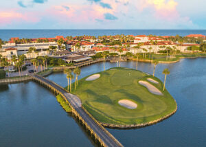 Aerial view of a golf course in St. Augustine Florida
