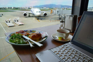 A laptop at Osaka International Airport. There's all kinds of new technology for business travelers these days.