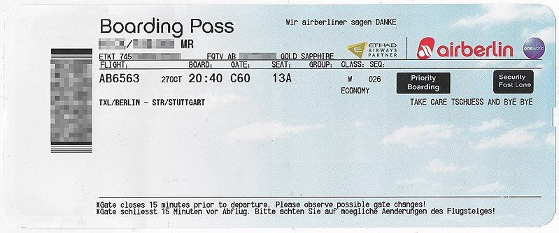 Photo of an Air Berlin boarding pass with the bar code blurred out.