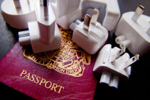 Passport and Apple plugs in different formats. Protect your electronics when you travel overseas.