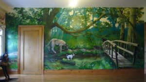 A wall mural is a great way to display your favorite travel photos.