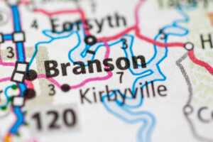 Road map showing where Branson, Missouri is located.