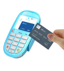 A credit card reader that uses an embedded RFID chip.