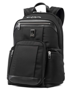 The Travelpro Platinum Elite Backpack has an RFID pocket to protect your credit cards and passport from being scanned by identity thieves.