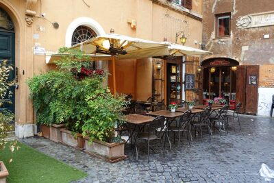 Restaurant in Piazza del Biscione in Rome, Italy. Anthony Bourdain would have chosen a place like this over the big familiar chains in a new city.