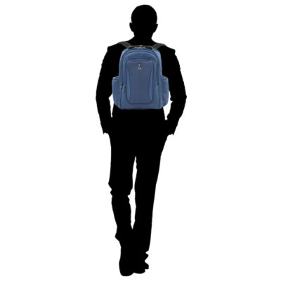 The Travelpro Skypro Backpack in blue. Great for solo travel trips.