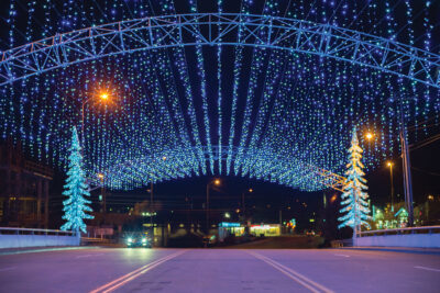 Christmas lights over a street in Pigeon Forge, Tennessee