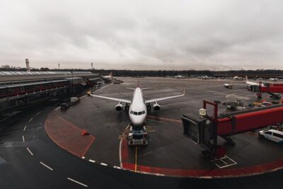 A grounded plane. A commons sight if your travel plans get canceled.
