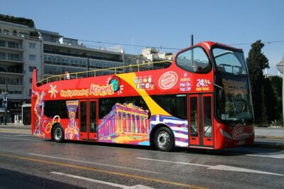 A double-decker tour bus in Athens. These are a great way for open-air tours to see new cities.
