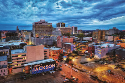 Downtown Jackson, Mississippi at night