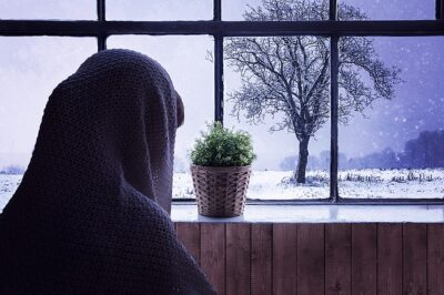 Someone looking outside during a snowy day. They have cabin fever bad!