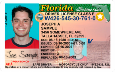 Sample driver's license from Florida, complete with REAL ID star