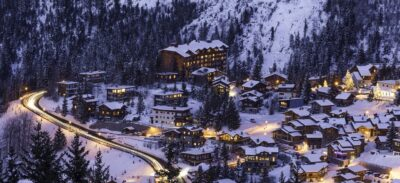 Photo of a ski resort in winter. A resort doesn't always have to be on the beach.